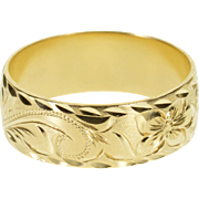 14K Ornate Scroll Patterned Men's Wedding Band Ring Size 10.75 Yellow Gold [QPQX]