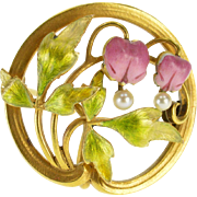 14K Ornate Pearl Inset Enamel Art Nouveau Floral Pin/Brooch Yellow Gold  [QPQX]