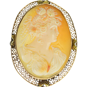 14K Oval Carved Shell Cameo Ornate Lady Floral Pin/Brooch Yellow Gold  [QPQX]