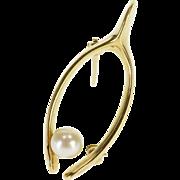 14K 5.3mm Pearl Inset Wishbone Good Luck Pin/Brooch Yellow Gold  [QPQX]
