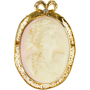 10K Ornately Carved Female Bust Shell Cameo Diamond Pin/Brooch Yellow Gold  [QPQX]
