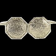 14K Art Nouveau Floral Pattern Motif Octagonal Cuff Links White Gold  [QPQX]