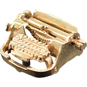 14K Vintage 3D Articulated Typewriter Charm/Pendant Yellow Gold