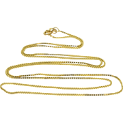 """14K 0.9mm Box Square Fancy Link Chain Necklace 24.5"""" Yellow Gold  [QPQX]"""