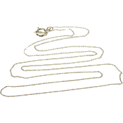 """10K 0.6mm Rolling Cable Link Chain Necklace 19.75"""" White Gold  [QPQX]"""