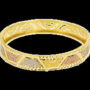 "22K Indian Cut Out Patterned Child's Bangle Bracelet 5"" Yellow Gold  [QPQQ]"