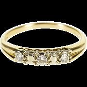 14K Diamond Inset Three Stone Wedding Band Ring Size 7 Yellow Gold [QPQX]