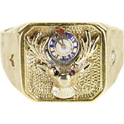 10K Diamond Accented Stag Enamel Clock Men's Ring Size 13 Yellow Gold [QPQX]