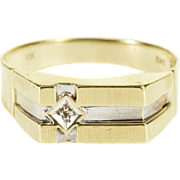 10K Diamond Inset Square Face Cross Grooved Men's Ring Size 9.75 Yellow Gold [QPQX]