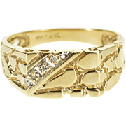 10K Cubic Zirconia Inset Squared Nugget Textured Ring Size 8 Yellow Gold [QPQX]