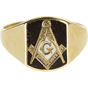 10K Enamel Masonic Compass and Square Symbol Ring Size 11.5 Yellow Gold [QPQX]