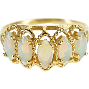 10K Marquise Opal* Cabochon Rope Trim Five Stone Ring Size 5.5 Yellow Gold [QPQX]