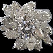 14K 6.13 Ctw Round Marquise Diamond Statement Ring Size 5.75 White Gold