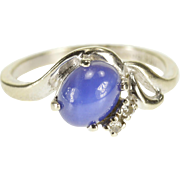 10K Star Sapphire Diamond Accented Wavy Freeform Ring Size 6.5 White Gold [QPQX]