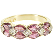 10K Oval Ruby* Diamond Accented Wedding Band Ring Size 4 Yellow Gold [QPQX]