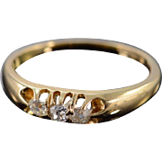 14K 0.35 Ctw Mine Cut Diamond Vintage Wedding Band Ring Size 6.75 Yellow Gold