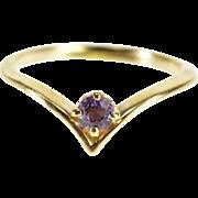 10K Round Cut Amethyst Chevron Pointed Band Ring Size 2.25 Yellow Gold [QPQQ]