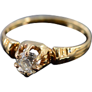 14K Victorian 0.48Ct H / VS2 Round Diamond Engagement Ring Size 6.75 Yellow Gold