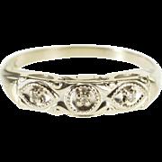 14K Three Stone Diamond Inset Retro Wedding Band Ring Size 5 White Gold [QPQQ]