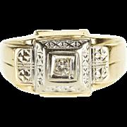 14K Retro Diamond Inset Textured Patterned Men's Ring Size 11 Yellow Gold [QPQQ]