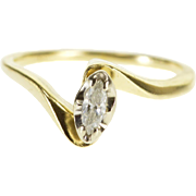 14K Marquise Peg Head Diamond Wavy Engagement Ring Size 4 Yellow Gold [QPQQ]