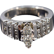 14K 0.80 Ct H/VS2 Marquise Diamond 1.34 Ctw Engagement Ring Size 7.5 White Gold