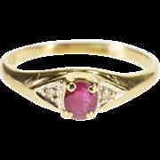 10K Three Stone Oval Cut Ruby Diamond Accent Ring Size 3.75 Yellow Gold [QPQQ]