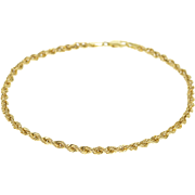 "10K Rope Link Rolling Twist Chain Bracelet 8"" Yellow Gold  [QPQQ]"