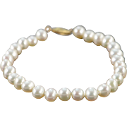 "14K 7mm Pearl Strand Bracelet 7"" Yellow Gold"