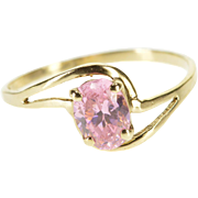 10K Oval Pink Cubic Zirconia Wavy Freeform Bypass Ring Size 7 Yellow Gold [QPQQ]