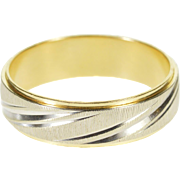 14K Two Tone Grooved Textured Men's Wedding Band Ring Size 9.75 Yellow Gold [QPQQ]