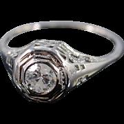 14K Art Deco 0.50 Ct F/I2 Diamond Filigree Engagement Ring Size 7 White Gold