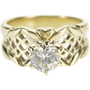 14K Ornate Lattice Pattern Travel Engagement Ring Size 5.25 White Gold [QPQQ]