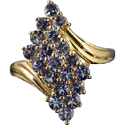 10K 1.50 Ctw Tanzanite Cluster Ring Size 10 Yellow Gold