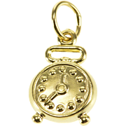 18K 3D Reversible Alarm Clock Charm/Pendant Yellow Gold  [QPQQ]