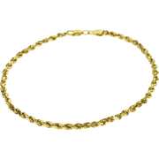 """14K 3mm Pressed Link Rope Chain Fancy Bracelet 7.75"""" Yellow Gold  [QWXQ]"""