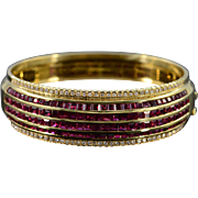 "18K 12.25 CTW Diamond Ruby Bangle Statement Bracelet 3.25"" Yellow Gold"