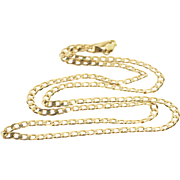 """10K 3.7mm Curb Link Fancy Chain Necklace 22.5"""" Yellow Gold  [QPQQ]"""