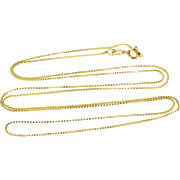"""14K 0.5mm Squared Box Link Chain Necklace 21"""" Yellow Gold  [QPQQ]"""