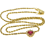"14K Ruby Heart Diamond Halo Rope Link Chain Necklace 16.75"" Yellow Gold  [QPQQ]"