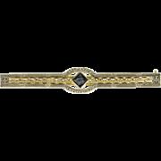 10K Art Deco Princess Sapphire Filigree Bar Pin/Brooch White Gold  [QPQQ]