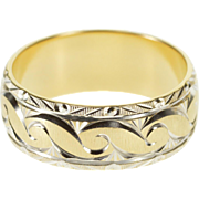 14K Two Tone Ornate Scroll Patterned Wedding Band Ring Size 9.5 Yellow Gold [QPQQ]
