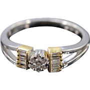 18K 0.24 Ctw Diamond Cluster Two Tone Ring Size 7 White Gold