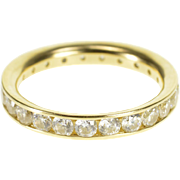 14K Cubic Zirconia Channel Infinity Wedding Band Ring Size 8 Yellow Gold [QPQQ]