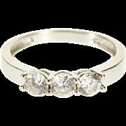 14K Three Round Cut Stone Travel Wedding Band Ring Size 5 White Gold [QPQQ]