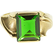 10K Pressure Set Emerald* Grooved Wavy Men's Ring Size 11 Yellow Gold [QPQQ]