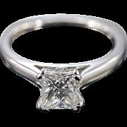 18K 1.00 Ct G / SI1 Princess Cut Diamond European Setting Engagement Ring Size 6 White Gold