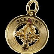 14K Seasons Greetings Christmas Holiday Tree Ruby Pendant Yellow Gold  [QPQQ]