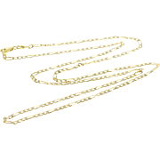 "14K 2.3mm Textured Figaro Link Chain Necklace 24"" Yellow Gold  [QPQQ]"