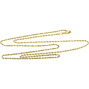 "14K 1.4mm Rolling Twist Rope Link Chain Necklace 24"" Yellow Gold  [QPQQ]"